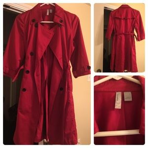 Red, small, Old Navy quarter length trench coat